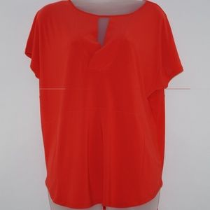Cato Women's Top Short Sleeve Red Blouse Size M